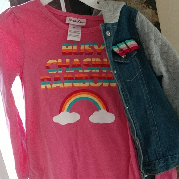 Little Lass Other - 4T 3pc Little Lass outfit 🌈 Jean Jacket ✨ NWT